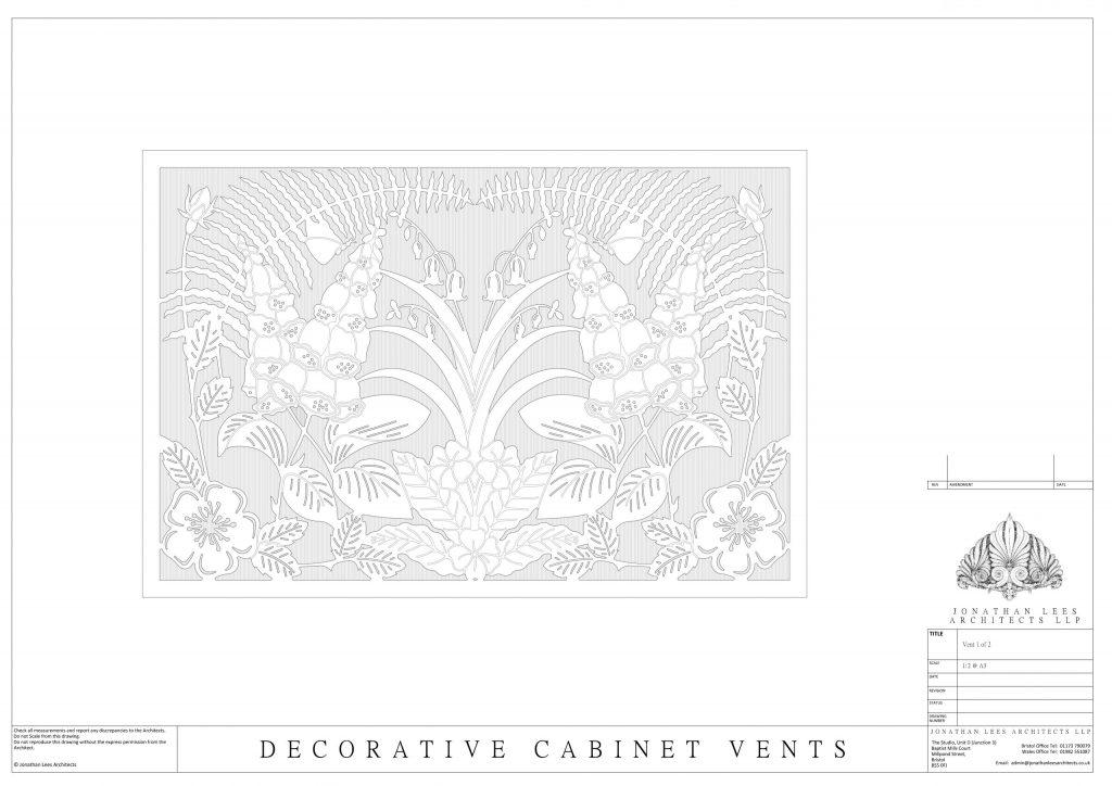 Design for metal vent cover in Oak cabinet