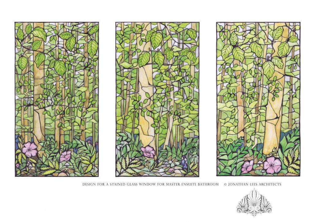 Bespoke stained glass window forest scene