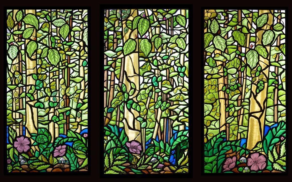 Woodland stained glass window triptych