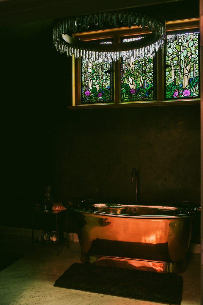 Bespoke stained glass design for bathroom