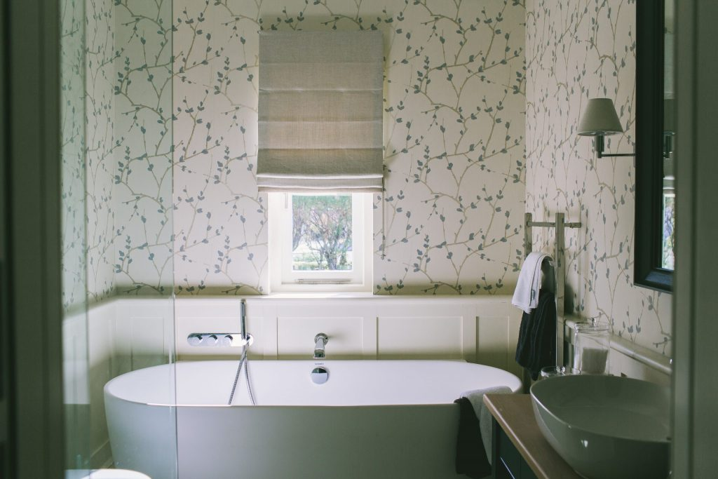 Traditional classic contemporary country bathroom in new house