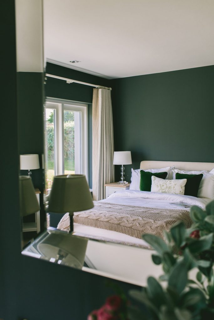 Classic contemporary bedroom in new build house