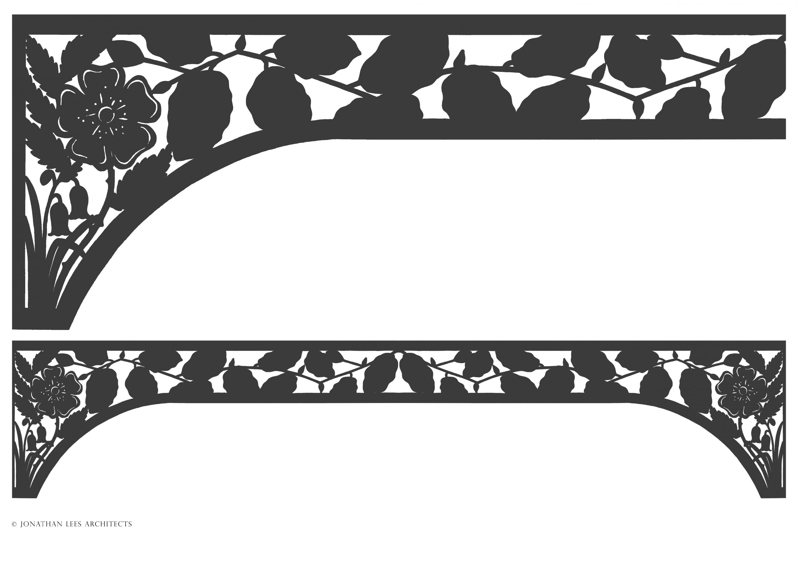 Ornate metal staircase panel design with beech leaves