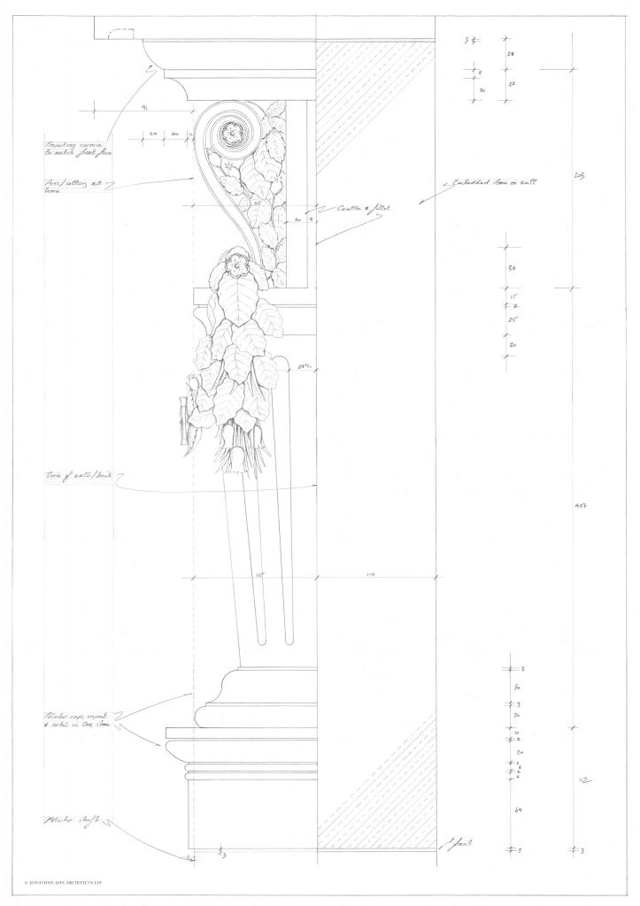 Decorative corbel and swag design for stone carving