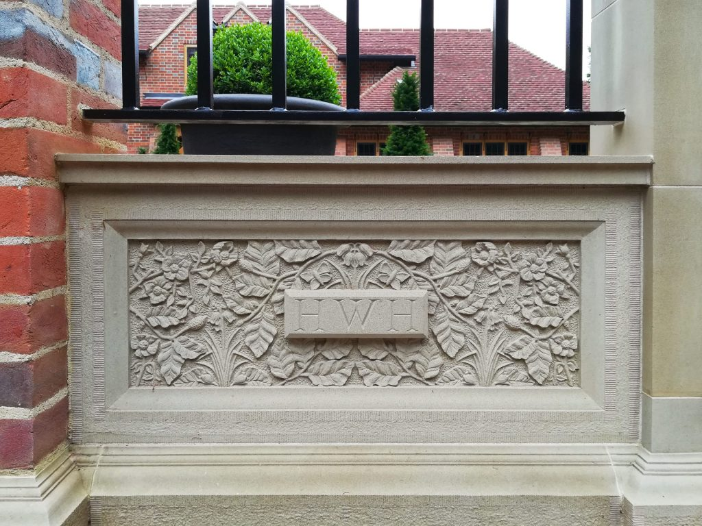 Intricate stone carving in sandstone