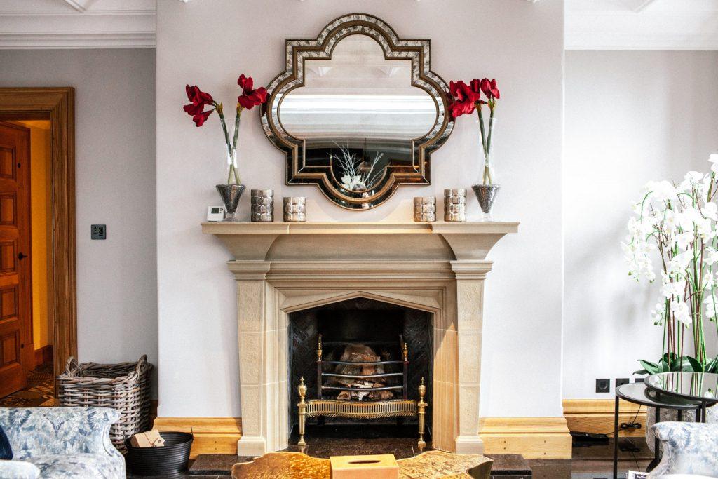 Sitting room traditional bespoke stone fireplace