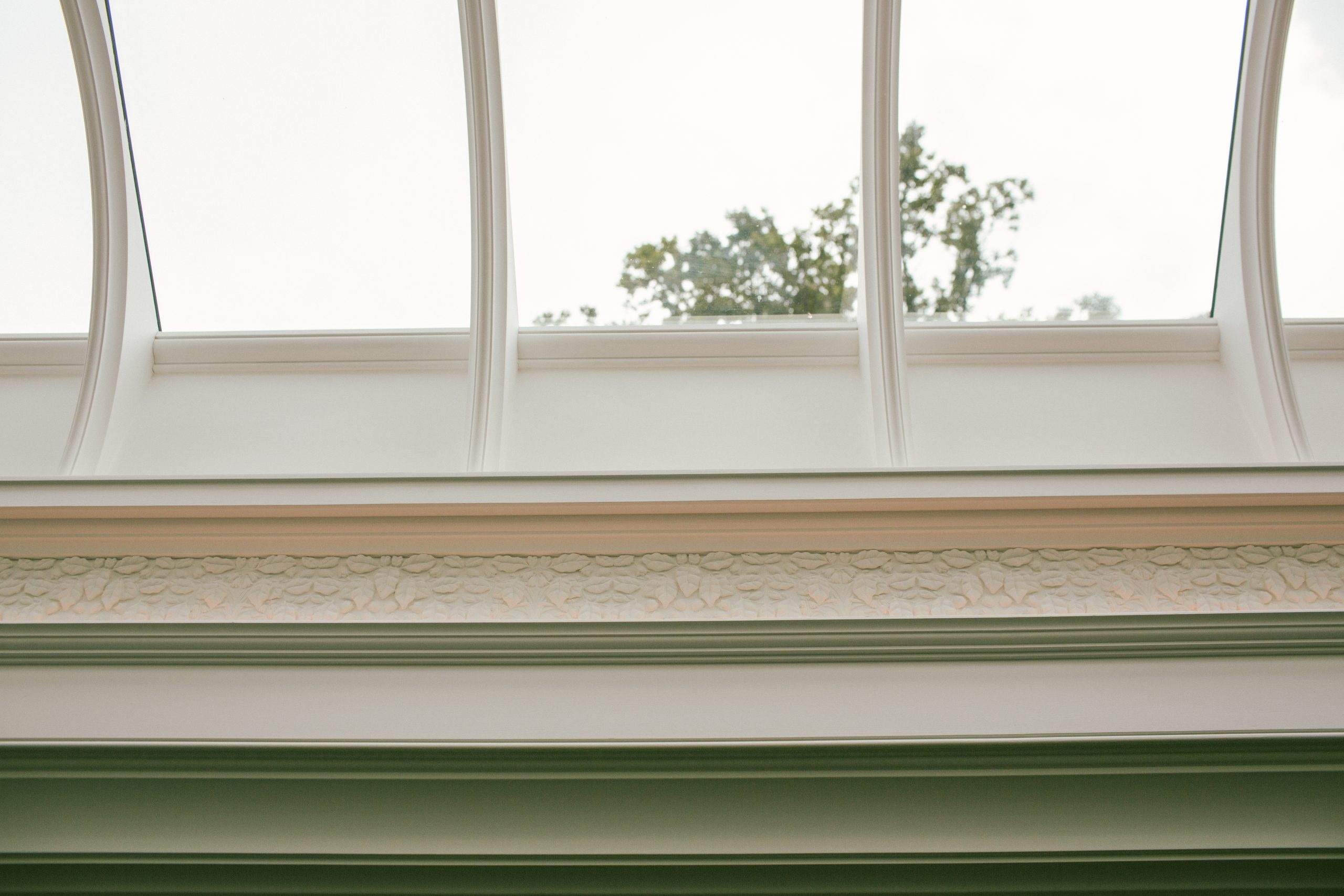 Traditional ribbed roof light with plasterwork decoration