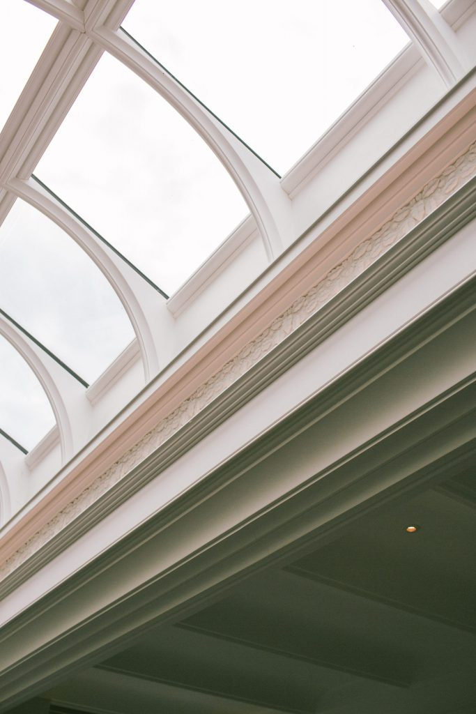 Classical ceiling moulding and roof light