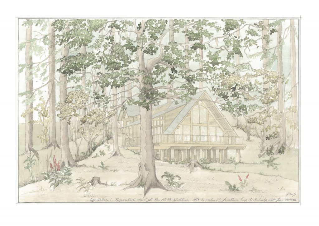 Watercolour sketch design of woodland cabin