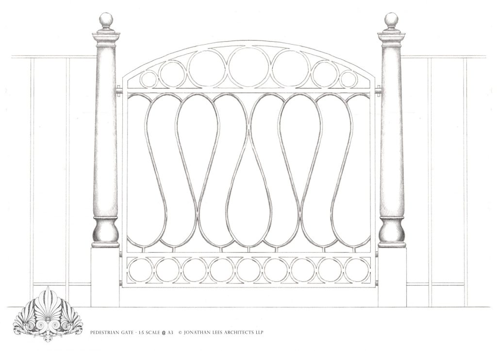 Bespoke garden gate design and brick buttress