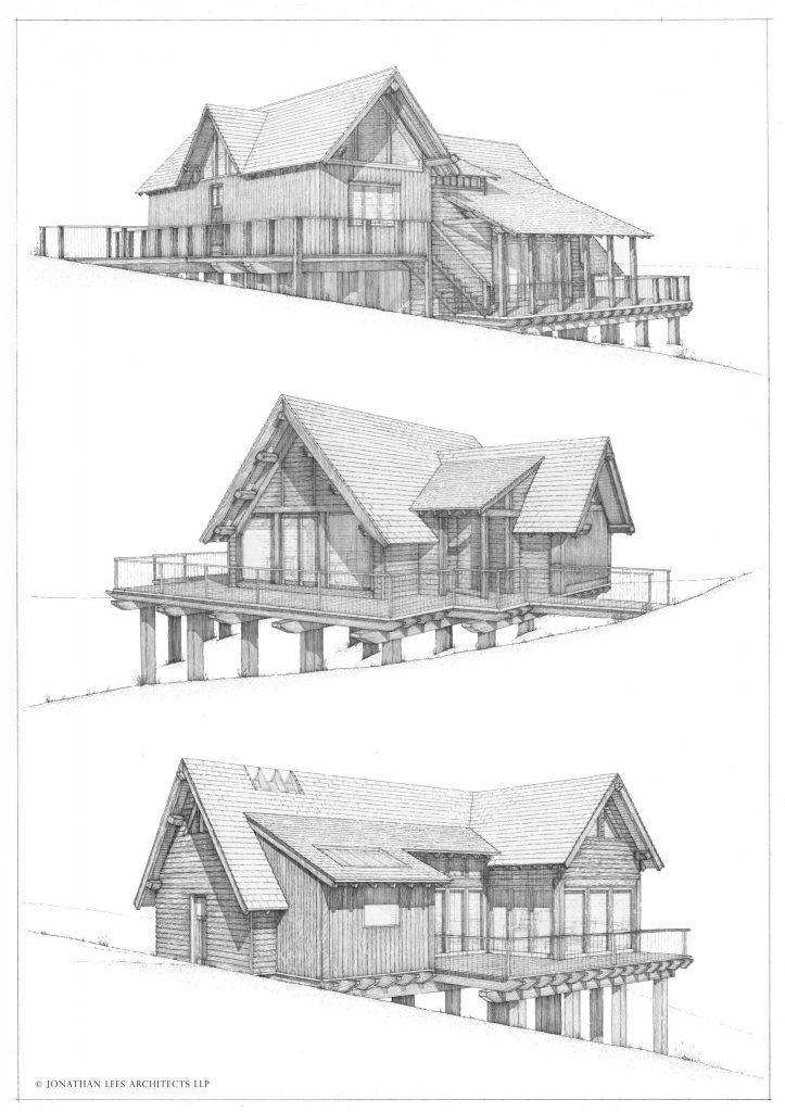 Woodland cabin designs in pen and ink