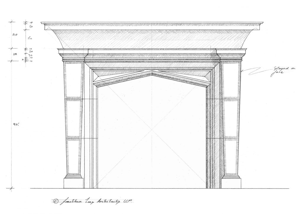 Classical stone fireplace design pencil drawing