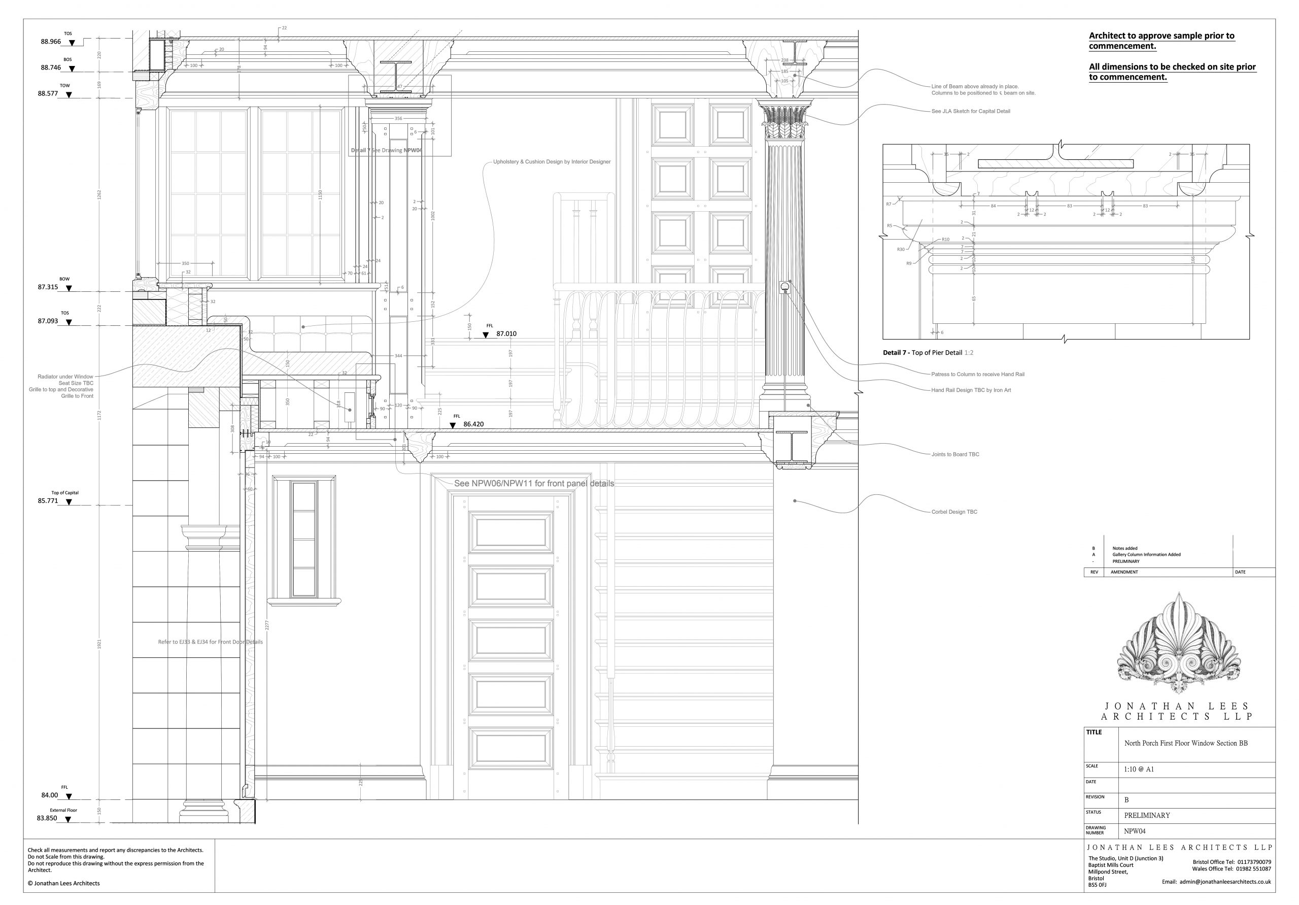 Staircase, hallway and gallery technical section drawing
