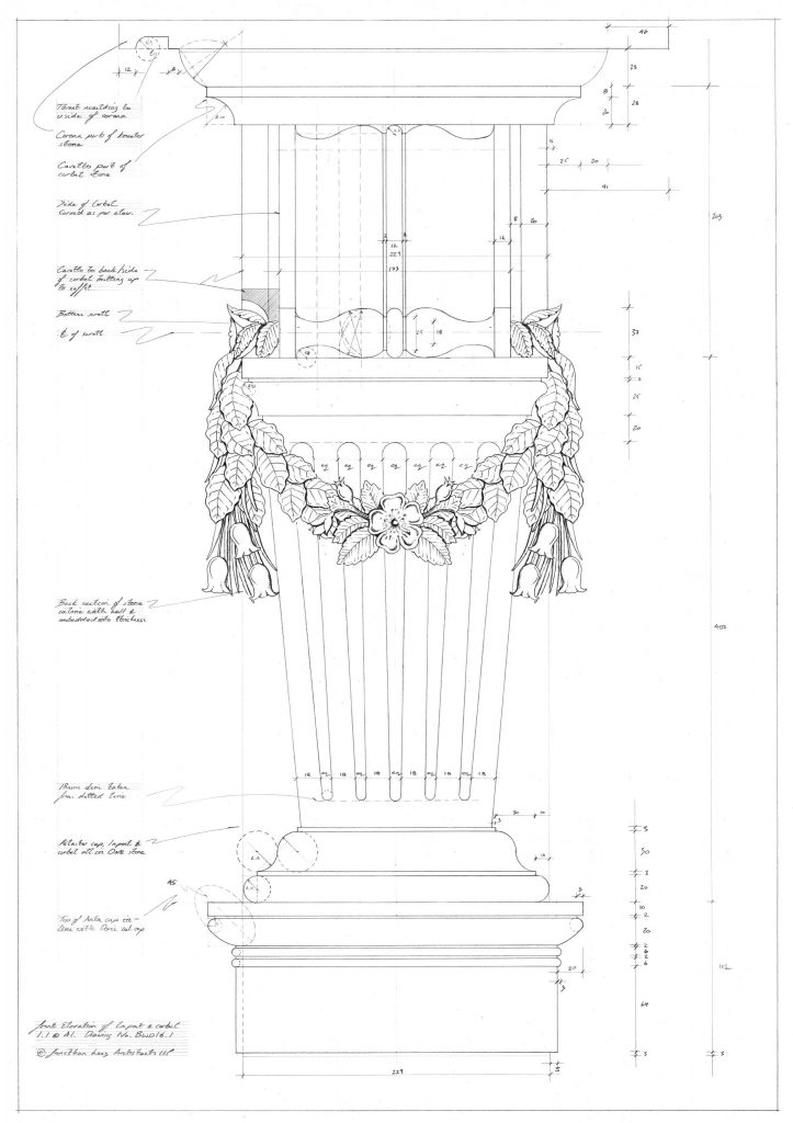 Technical Hand Drawing of Classical Carved Inpost