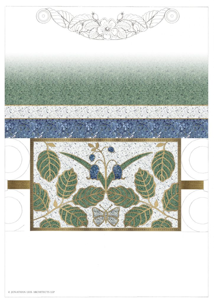 Terrazzo floor design with brass inlay leaves and flowers