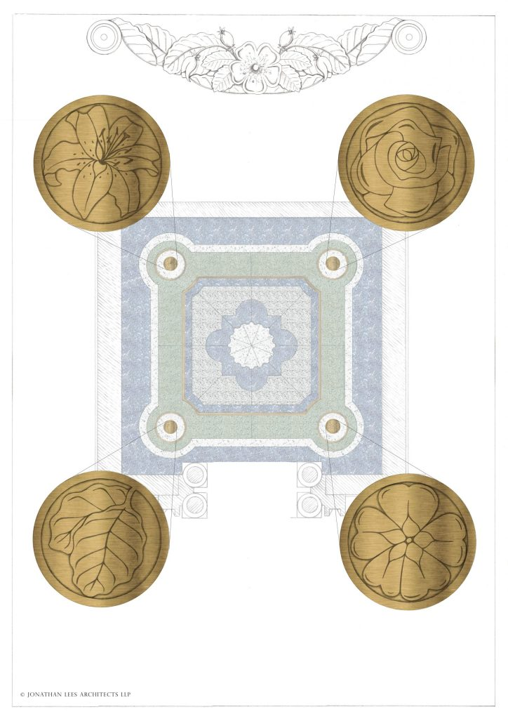 Decorative brass inlay plates in terrazzo floor