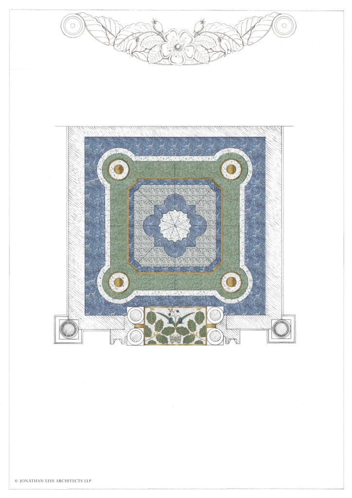 Garden building terrazzo floor with brass inlay