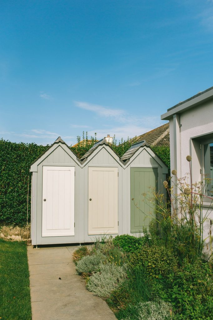 Seaside storage shed in shape of beach huts