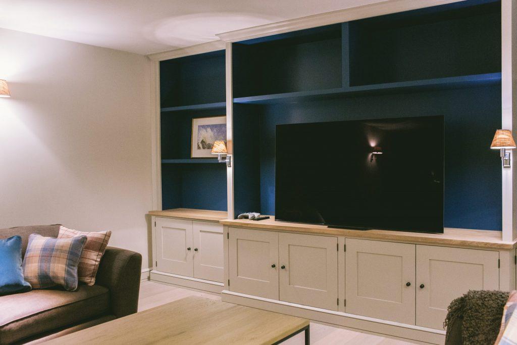 Contemporary new home tv and games shelves