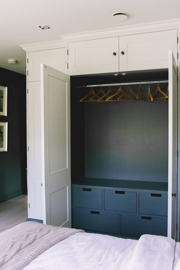 Dark interior bespoke contemporary wardrobes
